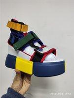Swyivy الأزرق الصنادل منصة النساء السيدات 2020 الاحذية الوتد السامية مكتنزة كعب أحذية صنادل الصيف السامي الأعلى أحذية الكاحل 41 GMX190705