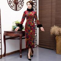 Elegante chinesische stilkleid traditionelle frauen long qipao wildlede baumwolle cheongsam neuheit chinesischen formschlussgröße m-5xl