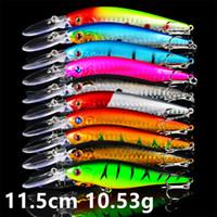 10 Cor 11,5 centímetros 10,53 g Minnow Fishing Hooks anzóis 6 # anzol Lure rígido Iscas Lures Pesca Pesqueiro Acessórios FS_21