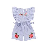Sommer Baby Kinder Mädchen Kleidung Rose Bestickte Blau Gestreiften Overall Overalls Kinder Sleeveless Kleidung