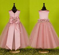 Benutzerdefinierte Schöne rosa Blumen-Mädchen kleidet Made for Weddings 2016 Recht Formal Mädchen Kleider Netter Satin Puffy Tüll-Festzug-Kleid Frühling
