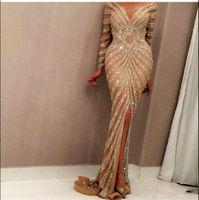 Yousef aljasmi 2021 русалка вечерние платья роскошный длинный рукав шампанское сексуальное сексуальное прозрачное гаечьего шеи спереди разделить выпускные платья