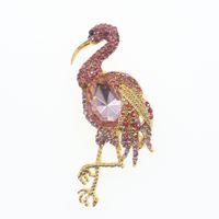 10 adet / grup ücretsiz kargo Sıcak Satış Vintage Altın sesi zarif Rhinestone Kristal hayvan broş pin kuş ile Akrilik broş pin