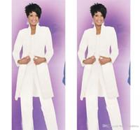 Blanco Madre de la novia Trajes de pantalón para bodas Mangas largas Volantes de gasa Mujeres modernas Vestidos de fiesta de baile Vestidos de noche personalizados