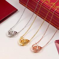 Collar del amor del color dual Círculo colgante de oro rosa de plata para el collar de las mujeres de la vendimia joyería de fantasía con la caja original conjunto femenino