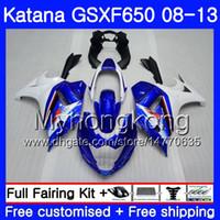 Bodys Para SUZUKI KATANA GSX650F 2008 2009 2010 2011 2012 2013 303HM.59 GSX 650F GSXF650 GSXF 650 08 09 10 11 12 13 Carenagem topo branco azul