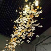 Âmbar e vidro claro Folha candelabro iluminação contemporânea Mão Blown Art Glass Pendant Lighting Hotel Projeto Luz Home Decor