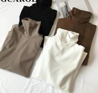 2019 Yeni Varış Güz Kış Kadın Balıkçı Yaka Temel Ince Tam Kollu Gömlek Tops Streç Vintage Çizgisiz Üst Giysi Render