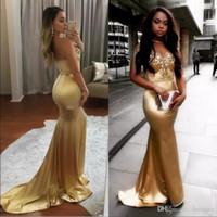 Арабского Дубай Sexy Gold вечернего платья Русалка Милая знаменитость Формального отдых Wear Пром платье сшитых Плюс Размер