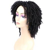 Yumuşak Kısa Sentetik Peruk İçin Siyah Kadınlar 6 inç Düşük Sıcaklık Fiber Dreadlock Ombre Burg Tığ Saç 190g / pc çevirin