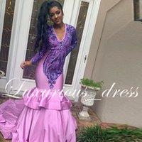 2019 Newest Deep V Neck Sequined Prom Dresses With Long Slee...