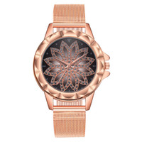 Fashion Women Rose Gold Flower Rhinestone Mesh Steel Wristwa...
