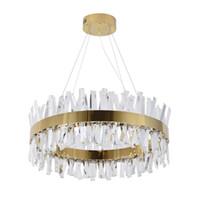 Candelabro de cristal moderno para sala de estar ouro / cromo led candelabros iluminação redondo decoração de casa lustres de Cristal