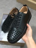 Tasarımcı Ayakkabı Çivili Spike erkekler eğitmenler Lüks Sneaker Erkekler ve Kadınlar Severler Için Daireler Kırmızı Alt Ayakkabı 100% Hakiki Deri SZ 36-46