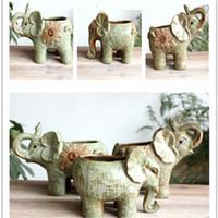 جديد الفيل السيراميك الحيوان زهرة وعاء رائعة الرجعية النباتات النضرة بوعاء النباتات سطح المكتب ديكور المنزل 15 5fm ww
