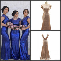 Rose Gold Sequin Bridesmaid Dresses Mermaid Maid of Honor Dr...