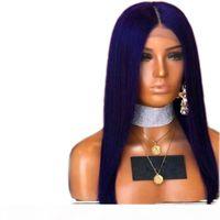 Blaue Spitzefrontperücke Synthetik für schwarze Frauen Glueless Mittelteil seidige Gerade Hitzebeständige Glueless Synthetische Perücken mit Babyhaar