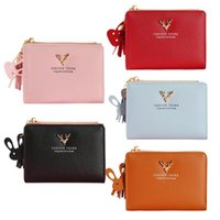 Deer Girls Bifold Short Wallet Soft Leather Clutch Women Car...