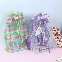 4styles Unicron PVC 배낭 맑은 방수 Drawstring 레이저 학교 가방 수박 만화 프린트 스토리지 가방 어린이 FFA2749