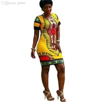 Atacado-2016 New Verão Vestido Sexy Mini Africano Tranditional Imprimir dashiki Vestidos Ladies Folk Art Africano Vestido Mulheres Roupa