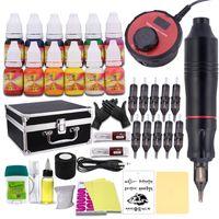 Pen tatuagem Professional Kit Rotary Metralhadora Set LCD Mini Tattoo Poder pedal de alimentação com caixa de alumínio