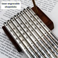 25 pares de palillos de acero inoxidable grabados con láser en blanco para hacer regalos personalizados DIY espacios en blanco de grabado únicos regalos de metal