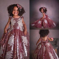 Sparkling Sequined Puffy Wedding Flower Girls' Dresses ...