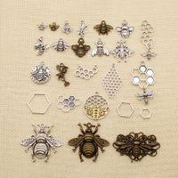 120 sztuk Urok do tworzenia biżuterii DIY Zwierząt Pszczoła Honeycomb HJ043