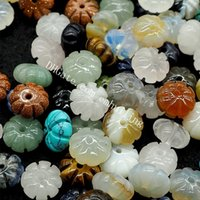 30 Unids 5 * 10mm Tallado Mixto Aleatorio Cristal de Cuarzo Natural Gema Forma de Calabaza Rondelles Halloween o Caída Melón Suelta Espaciador Charm Beads
