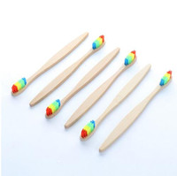Wooden Rainbow Bamboo Toothbrush Oral Care Soft Bristle Head...