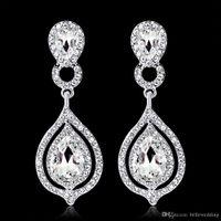 Moda Kristalleri Küpeler Rhinestones Uzun Bırak Küpe İçin Kadınlar Gelin Takı Düğün Hediye İçin Nedimeler BW-010 Shining