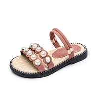 Medium Big Girls Flats Summer Casual Drag Slippers Pearls Be...