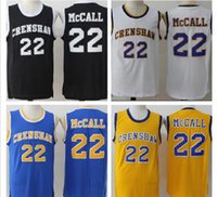 Quincy McCall AMOUR et BASKET Moive Jersey 22 Quincy McCall Crenshaw lycée de basket-ball Jersey Cousu Noir Bleu Blanc Jaune