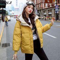 Mulheres para baixo parkas zqlz parka curta mulheres 2021 neve desgaste inverno casaco casaco com capuz senhoras casaco de algodão espesso feminino acolchoado