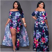 New Plus-Size-Kleid Digital gedruckte Split-Kleid