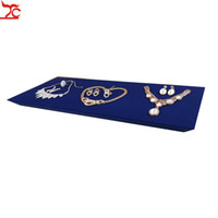 High Quality Pad Blue Velvet Cabinet Platform Jewelry Display Showcase Wooden Store Jewelry Display Tray Box Holder