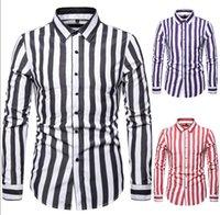 MAN Chemise rayée britannique tendance à rayures à manches longues T-shirt manches longues hommes contraste couleur Turn Down Col Porter Homme Livraison gratuite