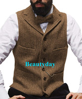 2019 Farm Brown Groom Gilet di lana a spina di pesce Tweed Vest Slim Fit Gilet da uomo Prom Country Wedding Gilet Dress Tailor Made Plus Size