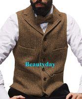 2019 Çiftliği Kahverengi Damat Yelek Yün Balıksırtı Tweed Yelek Slim Fit Erkekler Suit Vest Balo Kır Düğünü Yelek Elbise Tailor Made Artı boyutu