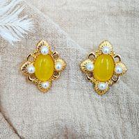 botão de jóias brincos flor flores clássicas amarelas brincos para as mulheres livres de moda quente do transporte