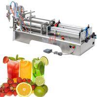 Zeytinyağı için Pnömatik Piston Dolum Makinesi Beyaz Şarap Saf Su Soya Sosu Sirke Çift Kafa Sıvı Paketleme Makinesi