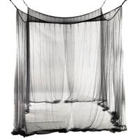Zanzariera a baldacchino a rete a 4 angoli per letto queen / king size 190 * 210 * 240cm (nero)
