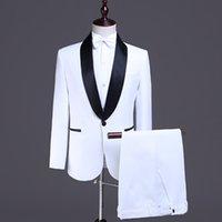 Männer Anzüge Blazer Männer Schal Revers Zwei Stücke Hochzeit Bräutigam Slim Fit Weiß Bankett Prom Kleid Tuxedo Anzug