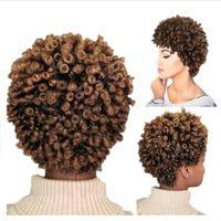 Kurzes Haar Afro Verworrene Lockige Perücke Hohe Temperatur Synthetische Perücken für Frauen Mixed Brown Cosplay Afrikanische Frisuren