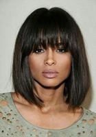 Оулер перуанские человеческие волосы полные кружева Боб шелковистые прямые парики с челкой для Balck женщины боба человеческих волос парики кружева