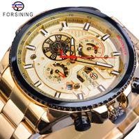Forning Golden Automatic Mechanical Mens Watch Racing Sports Design 3 Quadrante Data multifunzione in acciaio inox Band Band Orologio da polso