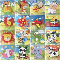 16 piezas de rompecabezas de madera de jardín de infancia Juguetes para bebés infantiles Animales de madera 3D Rompecabezas para niños bloques de construcción divertido juego juguetes educativos