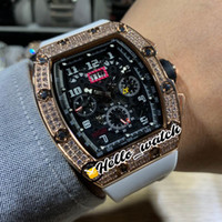 New Big Data Flyback Chrono Rose Case Gold RM011 RM11-03 Black Dial automático Mens Watch Bezel Diamante Branco Rubber Strap Hello_Watch 7Style