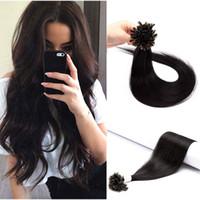 10A Grau Duplo Prego Desenhado U Dica Virgin Remy Hair 1G / S # 1 Keratin Hair Extension Prego U Tip Cabelo,