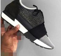 2019 Klasik Tasarımcı Yarış Runner Sneakers Moda Erkekler Kadınlar Rahat Ayakkabılar Hakiki Deri Mesh Sivri Burun Ayakkabı Açık Havada Eğitmenler